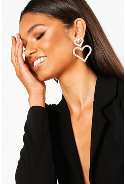 Womens Silver Double Heart Diamante Statement Earrings