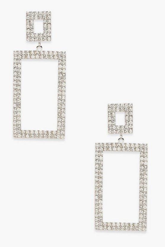Premium Diamante Statement Rectangle Earrings