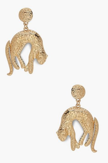 Womens Gold Leopard Drop Statement Earrings