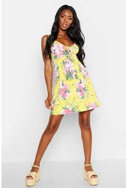 Womens Yellow Tropical Tie Front Sundress