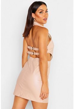 Nude Buckle Back Belted PU Mini Dress