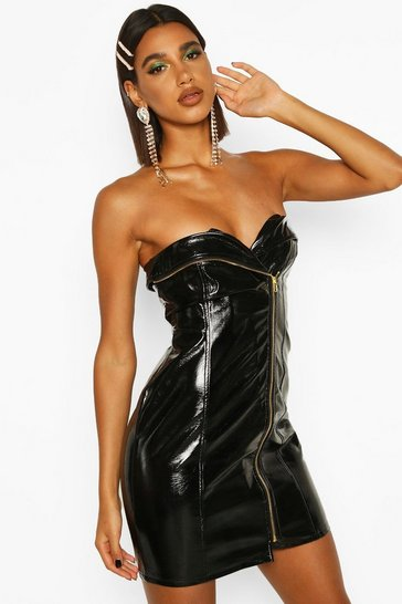 Womens Black PU Belted Zip Mini Dress