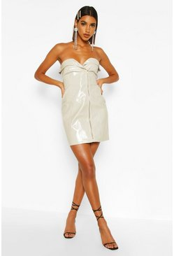 Stone PU Belted Zip Mini Dress