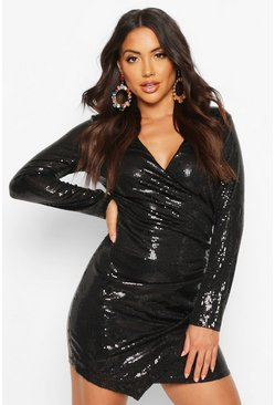 Black Sequin Wrap Front Mini Dress