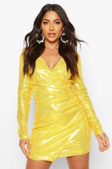 Yellow Sequin Wrap Front Mini Dress