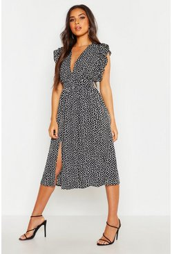 Womens Black Dalmation Spot Ruffle Sleeve Midi Dress