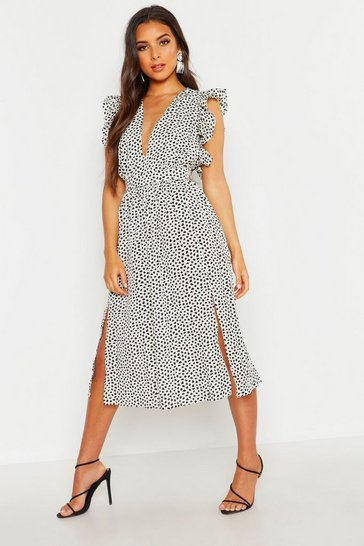 Womens White Dalmation Spot Ruffle Sleeve Midi Dress