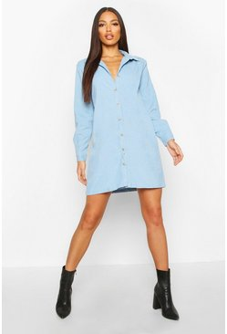 Womens Washed blue Baby Cord Shirt Dress