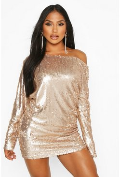 Womens Pink Slouch Sequin Mini Dress
