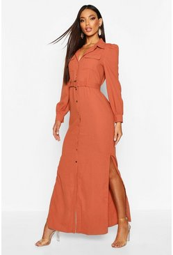Womens Rose Belted Maxi Shirt Dress