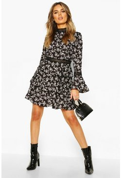 Womens Black High Neck Floral Tiered Skater Dress