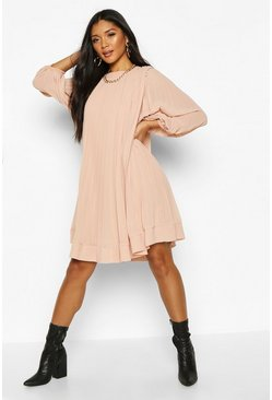 Blush Pleated Swing Dress