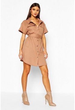 Tan Belted Utility Shirt Dress