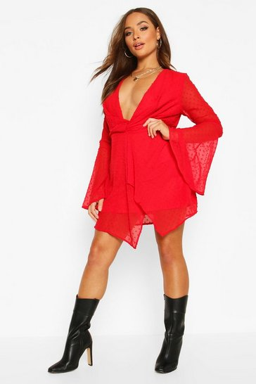 Red Dobby Plunge Front Flared Sleeve Shift Dress