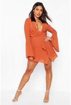 Womens Rust Dobby Plunge Front Flared Sleeve Shift Dress