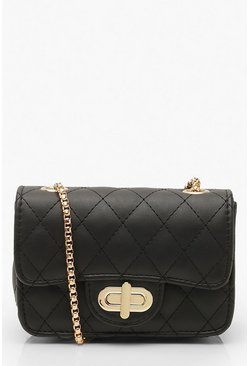 Womens Black Mini Quilted Cross Body Bag