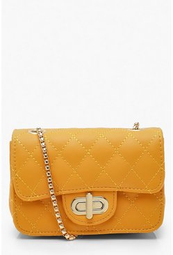 Womens Mustard Mini Quilted Cross Body Bag