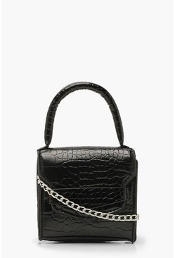 Dam Black Croc Structured Micro Mini Grab Bag