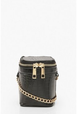 Womens Black Croc Mini Square Grab Bag