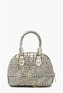 Dam White Croc Micro Mini Bowler Bag