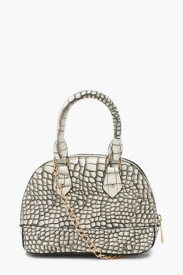 Womens White Croc Micro Mini Bowler Bag