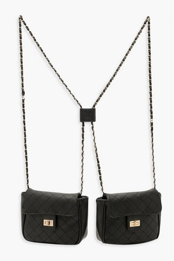 Quilted Double Cross Body Bag
