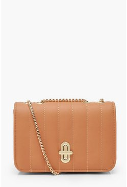 Dam Nude Quilted Lock & Chain Cross Body Bag