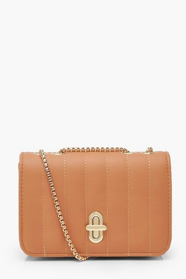 Womens Nude Quilted Lock & Chain Cross Body Bag