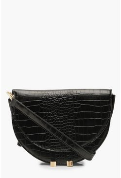 Dam Black Croc Structured Half Moon Cross Body Bag