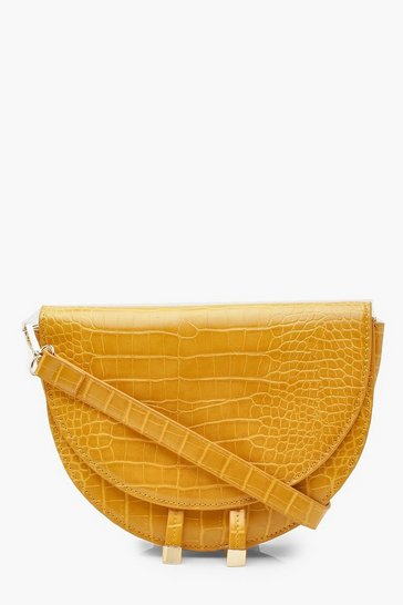 Womens Mustard Croc Structured Half Moon Cross Body Bag