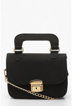Womens Black Suedette Multi Way Lock Detail Bag