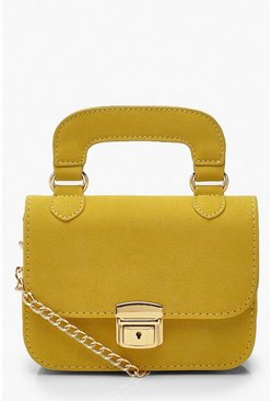 Womens Mustard Suedette Multi Way Lock Detail Bag