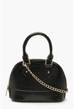 Dam Black Croc Micro Mini Bowler Bag With Chain