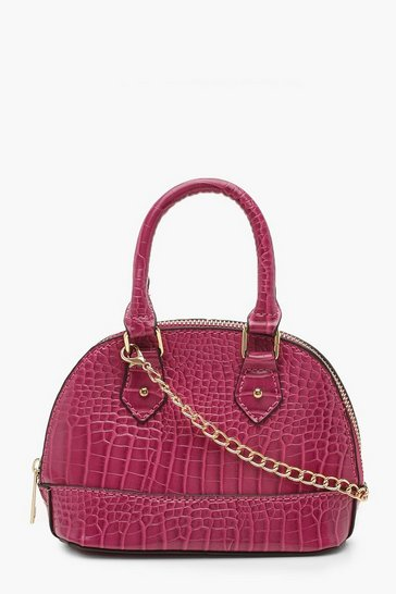 Womens Pink Croc Micro Mini Bowler Bag With Chain
