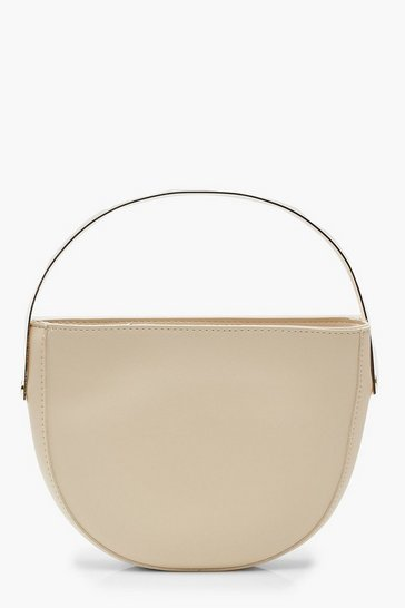 Womens Nude Metal Handle Half Moon Clutch Bag