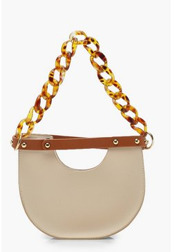 Nude Resin Chain Handle Half Moon Clutch Bag