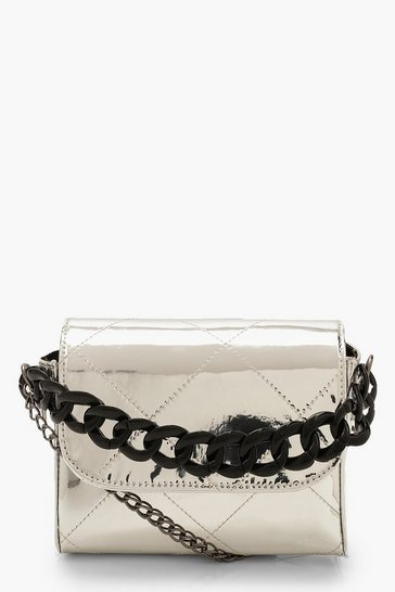 Womens Silver Metallic Chunky Chain Clutch Bag