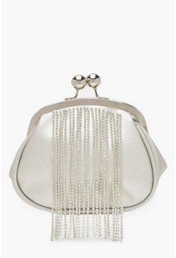 Womens Silver Diamante Fringe Push Lock Clutch Bag