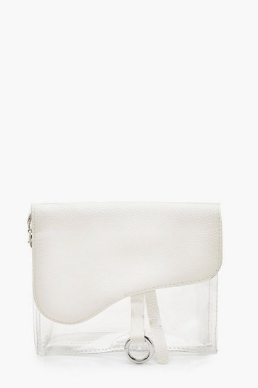 Womens White Clear Mini Wave Clutch Bag