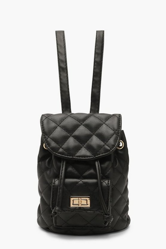 Mini Quilted Strap Rucksack by Boohoo