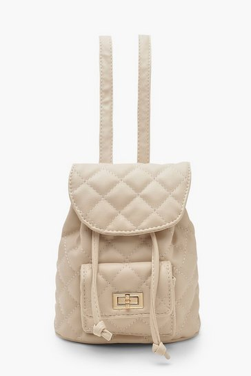 Womens Nude Mini Quilted Strap Rucksack