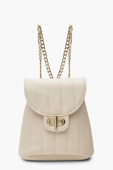 Womens Nude Panel Mini Quilted Lock & Chain Rucksack