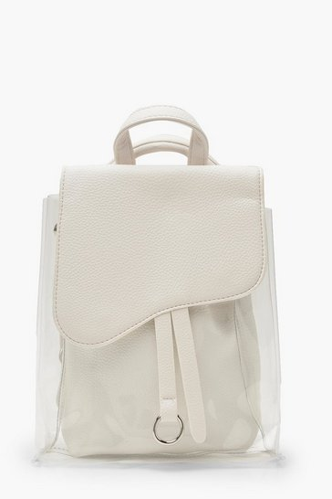 Womens White Clear Wave Flap Mini Rucksack