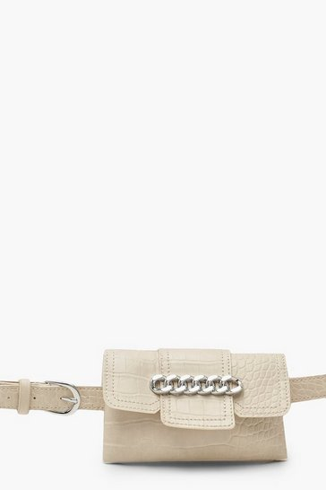 Womens Natural Chunky Chain Croc Belt Bag
