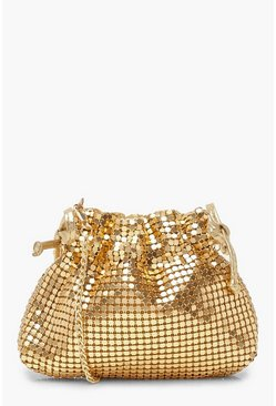 Dam Gold Chainmail Drawstring Crossbody Bag