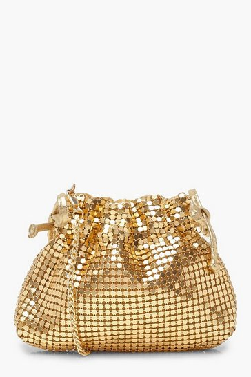 Womens Gold Chainmail Drawstring Crossbody Bag