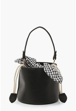Womens Black Micro Mini Check Tie Bucket Bag