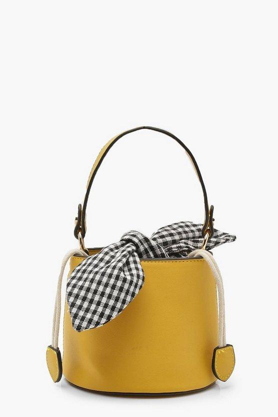 Micro Mini Check Tie Bucket Bag