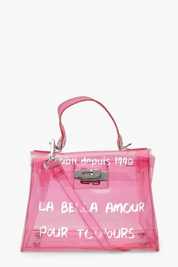 Womens Pink Slogan Clear Mini Lock Grab Bag