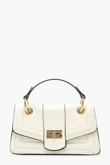 Womens White Twist Lock Structured Mini Bag